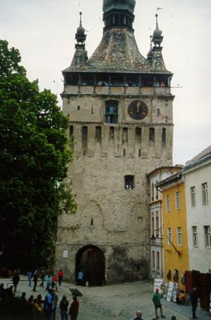 "Sighişoara: Turnul cu ceas (tyska: Stundenturm), ""Tidstornet""."