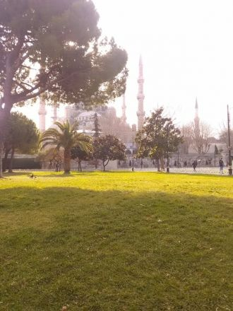 Sultan Ahmed I:s moské sedd från Kabasakal Cad - Dalbastı Sokak.