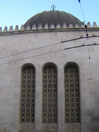 Synagoga i de judiska kvarteren, Budapest.